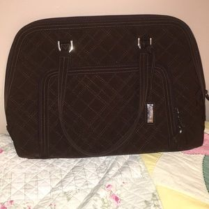 Vera Bradley chocolate quilted laptop bag EUC